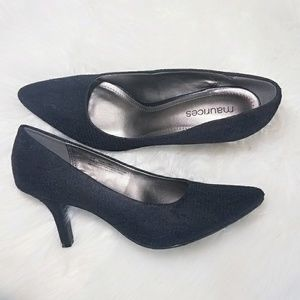 Shoes - Black Silver Lace Heel Pumps Career Shoes 9